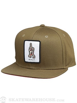 RVCA Middle Patch Snapback Hat Olive Adjust