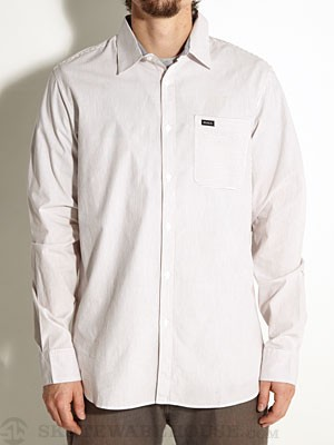 RVCA Straights L/S Woven Shirt White/VWT MD