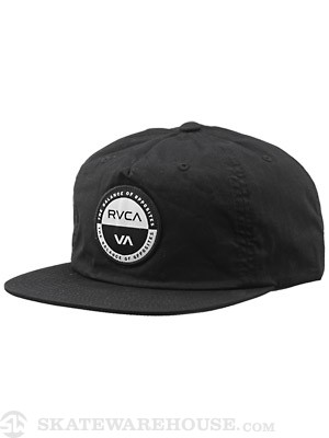 RVCA Token Snapback Hat Black Adjust