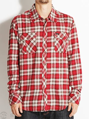 RVCA Tussle Flannel Shirt Red SM