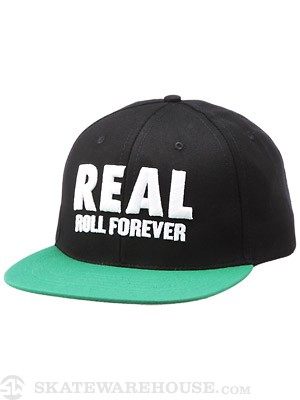 Real Genuine Snapback Hat Black/Green Adj.