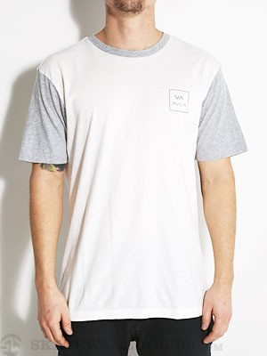 RVCA VA Box Raglan Shirt White/Heather Grey SM