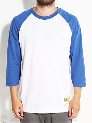RVCA Tab 3/4 Sleeve Raglan Shirt White/Royal LG
