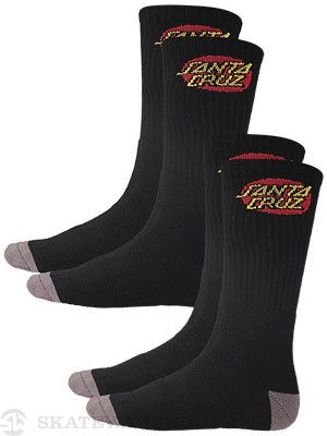 Santa Cruz 2 Pack Cruz Socks Black