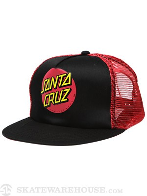 Santa Cruz Classic Dot Mesh Hat Black/Red Adj.
