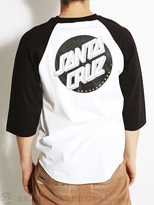Santa Cruz Other Dot Raglan Wht/Blk/Silver LG