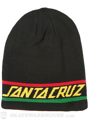 Rasta Strip Long Shoreman Beanie Black
