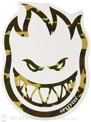 Spitfire Camo Head Sticker Large