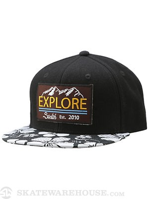 Stelth Explore Flower Snapback Hat Black