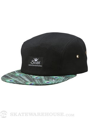Stelth Sentry Peacock 5 Panel Hat Black