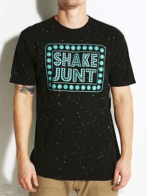 Shake Junt Box Logo Speckled Tee Black/Teal LG