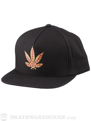 Skate Mental Pizza Leaf Snapback Hat Black