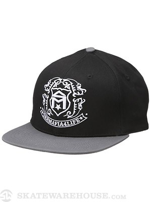 Sk8 Mafia Shield Snapback Hat Black/Grey