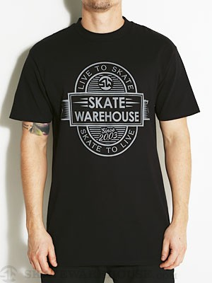 Skate Warehouse LTS Tee Black SM