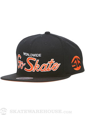 SW x M&N Go Skate Script Hat Black/Orange Adj.