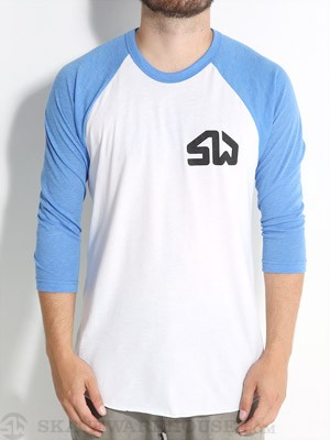 Skate Warehouse 3/4 Icon Shirt White/Royal LG