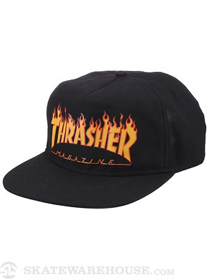 Thrasher Flame Snapback Hat Black