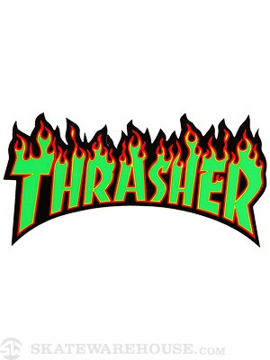 Thrasher Flame Logo Medium Sticker Green/Black