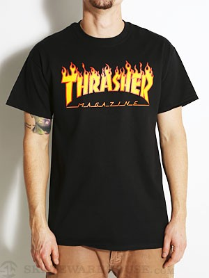 Thrasher Flame Tee Black SM