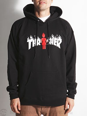 Thrasher x Girl On Fire Hoodie Black SM