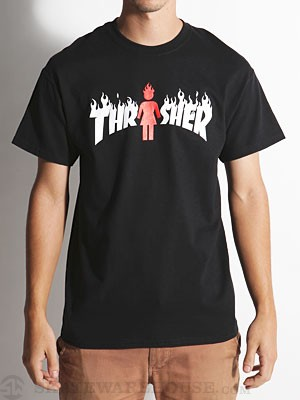 Thrasher x Girl On Fire Tee Black SM