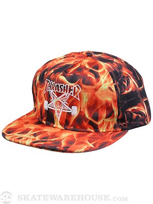 Thrasher Inferno Snapback Hat Black Adjust