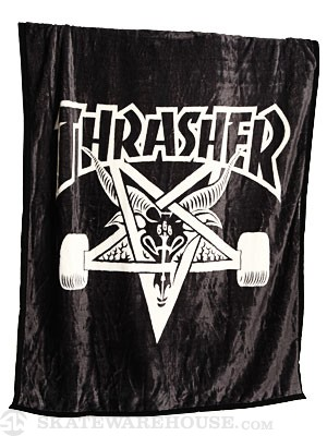 Thrasher Skate Goat Blanket  Black