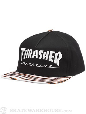 Thrasher Tiger Stripe Snapback Hat Black