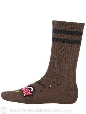 Toy Machine Poo Poo Head Vato Crew Socks Brown