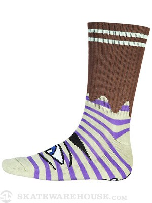 Toy Machine Sect Eye Stripe Crew Socks Green/Purp