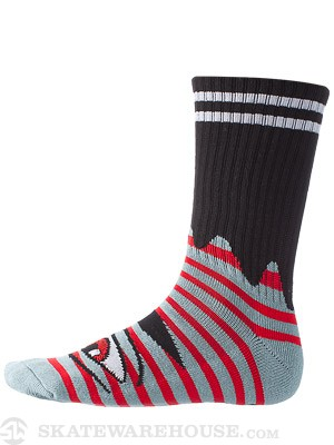 Toy Machine Sect Eye Stripe Crew Socks Grey/Red