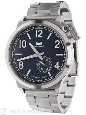 Vestal Canteen Metal Watch  Brushed Silver/Silver/Navy