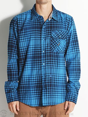 Volcom Donner L/S Flannel Shirt Blue LG