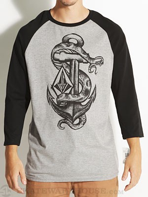 Volcom Snanchor 3/4 Sleeve Tee Heather Grey LG