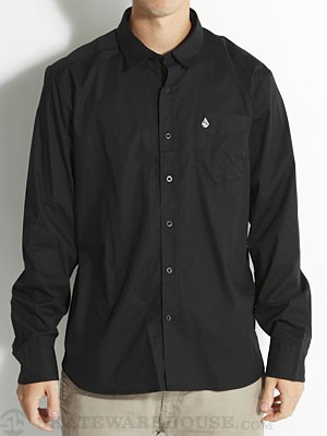 Why Factor Solid L/S Woven Shirt Black SM