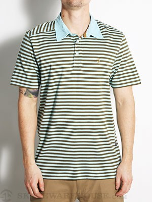 Volcom Wowzer Stripe Polo Shirt Lt Blue MD