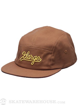 X-Large Camper Script 5 Panel Hat Tan